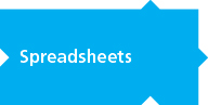Spreadsheets, written on light blue puzzle piece